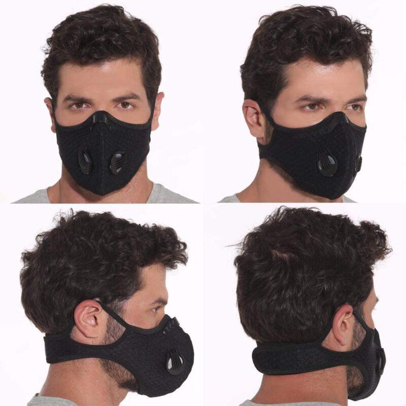 Masque anti pollution PM 2.5. Masque de Cyclisme Anti-poussière avec Filtre Noir
